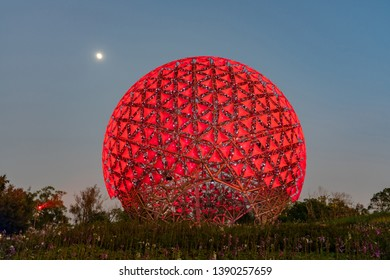 Taichung, DEC 22: Night view of the famous Machine flower of Taichung World Flora Exposition on DEC 22, 2018 at Taichung, Taiwan