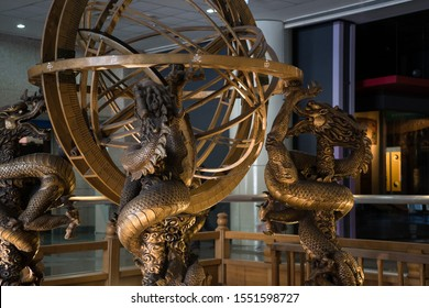 Taichung, Taiwan - 2 November, 2019. National Museum of Natural Science. Detail of armillary sphere