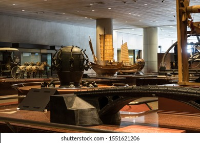 Taichung, Taiwan - 2 November, 2019. National Museum of Natural Science. Cultural relics display room in museum.