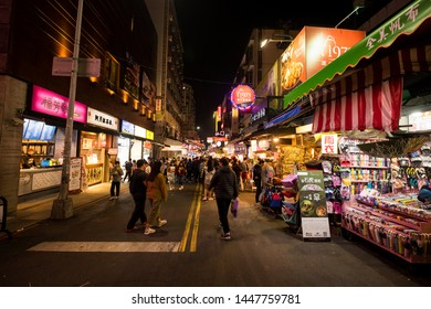 Taichung, Taiwan - 4 Mar 2019: Landscape of beautiful Taichung City at night. Taichung is one of the largest cities of Taiwan