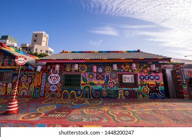 Taichung, Taiwan - 4 Mar 2019: Rainbow Village in Taichung, Taiwan. Rainbow Village is a small village with colorful painting and is a very famous travel location in Taiwan