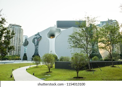 Taichung, Taiwan - August 10, 2018 - National Taichung Metropolitan Opera House, Taichung Theater, designed by Architect Toyo Ito.