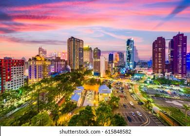 Taichung, Taiwan city skyline at sunset.
