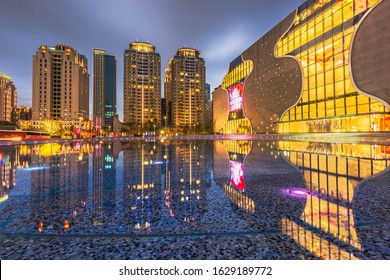 Taichung, Taiwan downtown plaza and square at night.