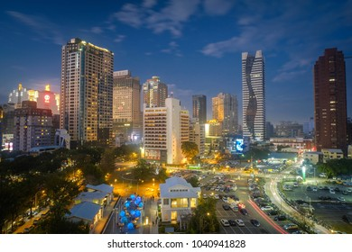 Taichung, Taiwan - February 24, 2018: Famous travel destinations of Taiwan. Asia modern business concept image, panoramic skyline cityscape (night view), shot in Taichung, Taiwan.
