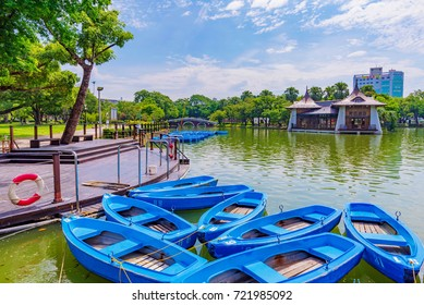 TAICHUNG, TAIWAN - JULY 18: Scenic view of boats and lake in Taichung park a famous park in the downtown area on July 18, 2017 in Taichung