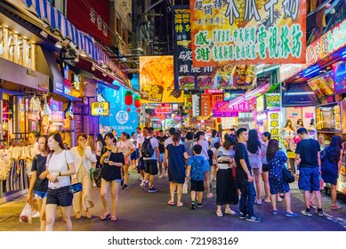 TAICHUNG, TAIWAN - JULY 18: This is a street in Fengjia night market the largest night market in Taiwan which is popular with tourits and locals on July 18, 2017 in Taichung