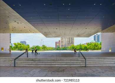 TAICHUNG, TAIWAN - JULY 18: This is the contemporary architecture of the new Taichung city hall building which is located in the financial district  on July 18, 2017 in Taichung
