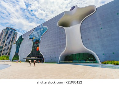 TAICHUNG, TAIWAN - JULY 18: This is the National Taichung Theater building a popular landmark in the financial district on July 18, 2017 in Taichung