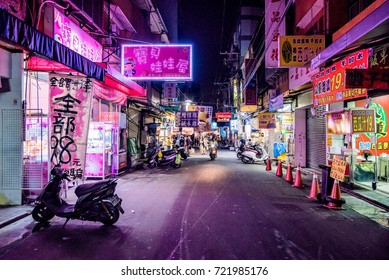 TAICHUNG, TAIWAN - JULY 18: This is a street in Fengjia night market which is said to be the biggest night market in Taiwan on July 18, 2017 in Taichung