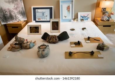 Taichung, Taiwan - July 19, 2019: visitors and art craft at the 5th Art Taichung exhibition at Taichung, Taiwan, Asia