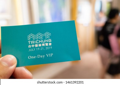 Taichung, Taiwan - July 19, 2019: take a ticket at the 5th Art Taichung exhibition at Taichung, Taiwan, Asia