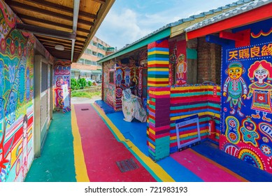 TAICHUNG, TAIWAN - JULY 19: Rainbow village is a popular travel destination where people can view colorful paintings and illustrations on the walls of houses on July 19, 2017 in Taichung