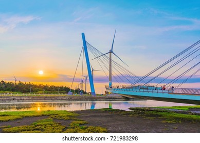 TAICHUNG, TAIWAN - JULY 19: This is Gaomei Wetlands a popular tourist destination where many people come to view the sunset on July 19, 2017 in Taichung