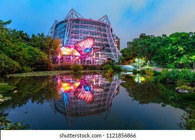 Taichung, Taiwan - June 16, 2018: The tropical Rain Forest Greenhouse near National Museum of Natural Science in taichung
