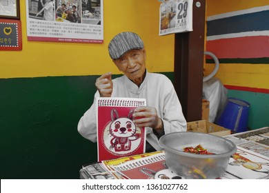 Taichung Taiwan March 29, 2019 : Huang Yung-Fu the man who painting and revive Caihongjuan or rainbow village old house of Taiwanese veteran to new desalination landmark now he was 95 years old