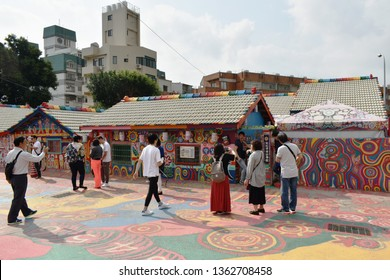 Taichung Taiwan March 29, 2019 : Caihongjuan or rainbow village old house of Taiwanese veteran renovation by painting and revive to new destinatin landmark