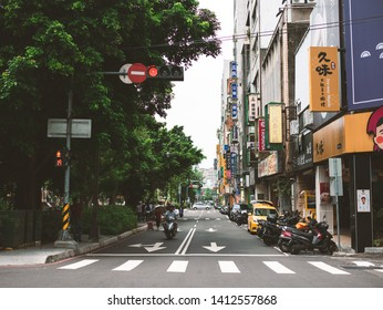 Taichung / Taiwan - May 5, 2019: Taichung City Downtown Street Snap