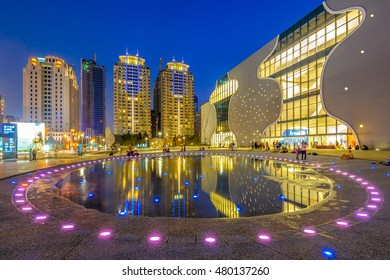Taichung, Taiwan - November 1, 2014 : night view of National Taichung Theater on November 1, 2014, designed by Japanese architect Toyo Ito and partial opening on November 23, 2014.
