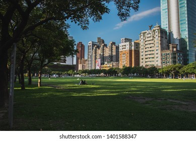 Taichung,Taichung,Taiwan-05/14/2019:Park Lane by CMP is the famous green space and park for Taichung.Lots of people will enjoy leisure moment on weekend.