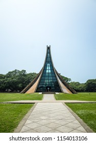 Taichung,Taiwan - August 10, 2018. An extraordinary exterior design of the Luce Memorial Chapel located at the campus of Tunghai University.