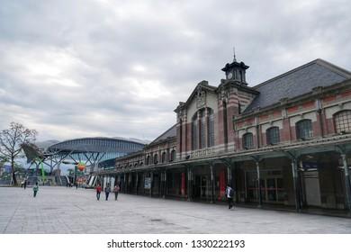 TAICHUNG,TAIWAN-19 Feb 2019: Taichung old train station and Taichung new railway station in Taichung,Taiwan