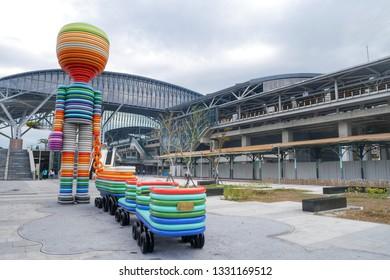 TAICHUNG,TAIWAN-19 Feb 2019: Taichung railway station in Taichung,Taiwan