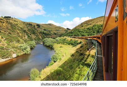 Taieri River and the train - Taieri Gorge Railway , New Zealand