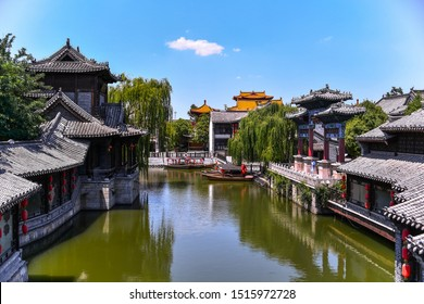 TAIERZHUANG, SHANDONG - JULY 1, 2019: Taierzhuang is located in Zaozhuang in Shandong, is the largest water town in China. Historically, it was an important hub along the Grand Canal, China.