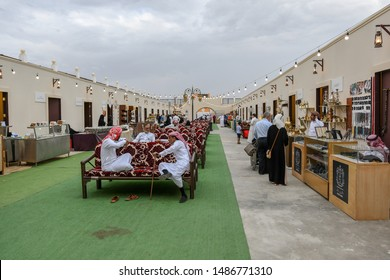 Taif, Saudi Arabia – August 10th 2019: Traditional market or souq in Al Hijin or camel festival activity in Taif City in Saudi Arabia. Mawsem Al Taif.