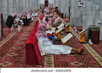 Taif,Saudi Arabia-January 27th,2018:Group of Muslim worshipers sitting to recite the Quran in Abdullah Bin Abbas mosque. Abdullah bin Abbas RA is one of Prophet deciple who is expert in Tafsir Quran