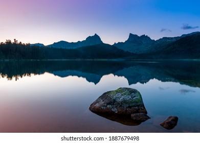"Taiga. Siberia. Sunset mountain landscape of western Sayan. ""Svetloe"" Lake - Shutterstock ID 1887679498"