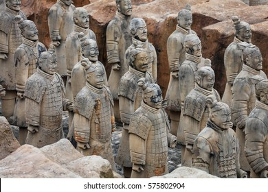 TAIHU, CHINA - FEBRUARY 08 2017:China's famous Terracotta Warriors and Horses are seen  in Anhui.The Terracotta Army is a full-size replica of the pit one of the Xi'an Terracotta Warriors  Museum.