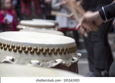 Taiko drum being played.