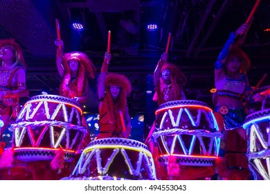 Taiko drummers performing during a show at the robot restaurant. Shinjukunishiguchi district in Tokyo, Japan. Picture taken on May 17, 2016.