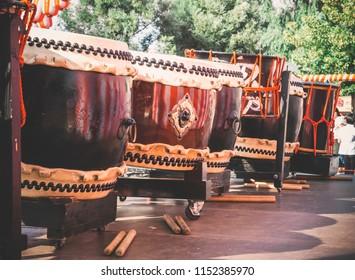 Taiko drums o-kedo and nagado-daiko on the stage yagura on holiday bon. Musical instrument of Asia