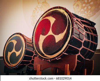 Taiko drums o-kedo on scene background. Musical instrument of Asia Korea, Japan, China