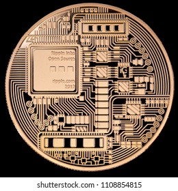Tail face of a physical golden coin representing a Ripple (XRP) isolated on black background. This crypto currency is the third by market volume
