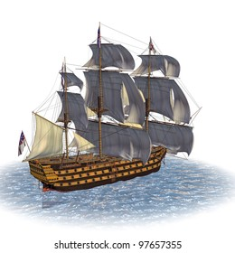 Tail Sailing Ship. 100 Gun first rate ship of line British Royal Navy built in 1737. In ocean under full sail. Isolated on clean white background. Copy space room for text Clip art cutout illustration