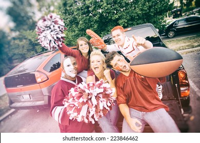 Tailgate: Excited College Football Fans Yelling For Team