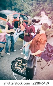 Tailgate: Fans Having A Cookout Before Game
