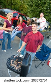 Tailgating: Group Of Friends Together At Tailgate Party