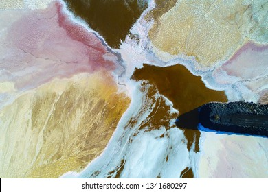 Tailings dam at australian mine site showing amazing texture and colour contrast