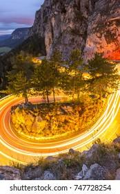 Taillight long exposure street traffic