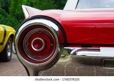 Taillight of a red retro car. Close-up. Transport. Details