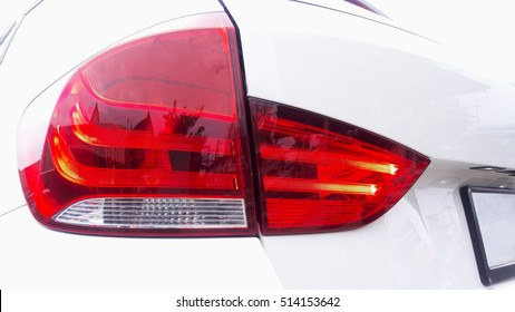 Taillight of white car