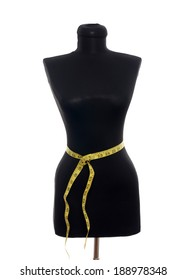 Tailor mannequin with measuring tape isolated