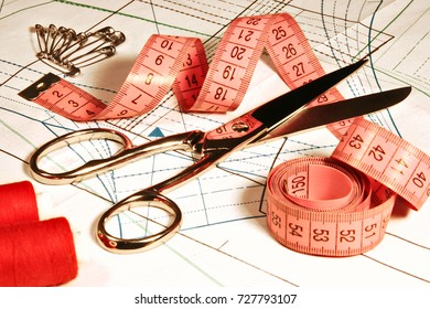 Tailor Sewing accessories on Fabric curve, Seamstress Clothing Scissors and Ruler