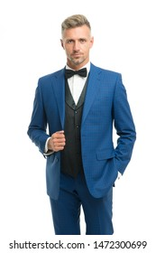 Tailored suit. Fashion shop. Rent suit service. Elegant fashion outfit for event. Gentleman modern style. Guy well groomed handsome macho wear tuxedo. Barber shop groom. Fashion clothes. Modern trend.