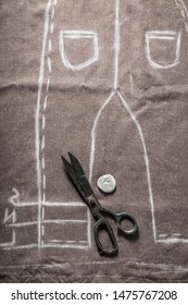 Tailors project of trousers in tailoring workshop
